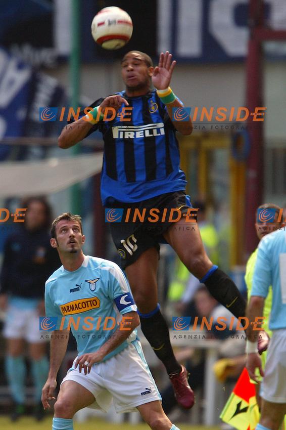 Milano 25/4/2004 Campionato Italiano Serie A - Matchday 31 <br /> Inter - Lazio 0-0 <br /> Leite Ribeiro Adriano (Inter) and Giuseppe Favalli (Lazio)<br />  Photo Andrea Staccioli Insidefoto