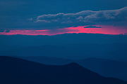 Silhouette of mountains at dusk from Mount Washington in the White Mountains, New Hampshire.