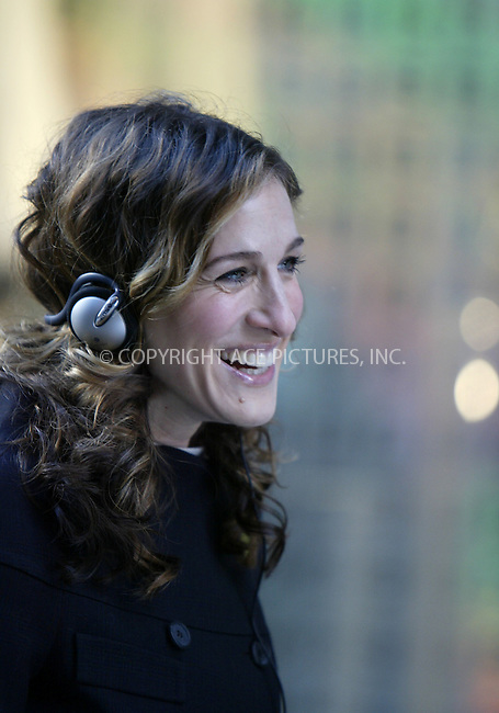 Sarah Jessica Parker filming the final series of 'Sex and the City' on a crowded and cold 5th Avenue in New York City. January 06 2004. Please byline: NY Photo Press.   ..*PAY-PER-USE*      ....NY Photo Press:  ..phone (646) 267-6913;   ..e-mail: info@nyphotopress.com