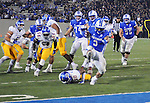 September 12, 2015 - Colorado Springs, Colorado, U.S. - Air Force running back, D.J. Johnson #3, high steps to his second of three touchdowns during Mountain West Conference action between the San Jose State Spartans and the Air Force Academy Falcons at Falcon Stadium, U.S. Air Force Academy, Colorado Springs, Colorado.  Air Force defeats San Jose State 37-16.