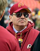 Washington Redskins owner Daniel M. Snyder on the field as he confers with former Redskins head coach Joe Gibbs prior to the game against the Philadelphia Eagles at FedEx Field in Landover, Maryland on December 30, 2018.  The Eagles won the game 24 - 0.<br /> Credit: Ron Sachs / CNP