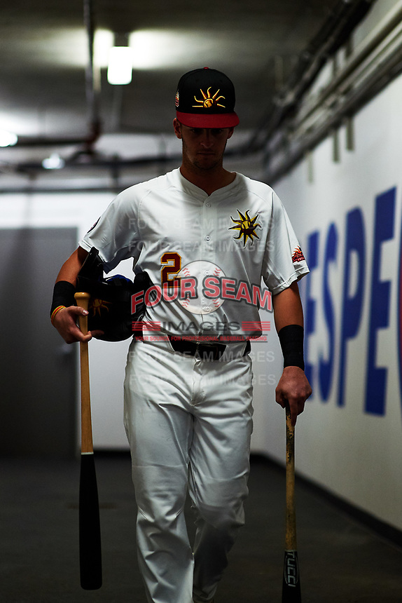 Mesa Solar Sox Zack Short (2), of the Chicago Cubs organization, walks toward the dugout before an Arizona Fall League game against the Peoria Javelinas on September 21, 2019 at Sloan Park in Mesa, Arizona. Mesa defeated Peoria 4-1. (Zachary Lucy/Four Seam Images)