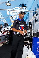 Feb 7, 2015; Pomona, CA, USA; NHRA top fuel driver Antron Brown during qualifying for the Winternationals at Auto Club Raceway at Pomona. Mandatory Credit: Mark J. Rebilas-USA TODAY Sports