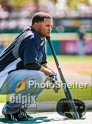 11 March 2014: New York Yankees outfielder Mason Williams awaits his turn in the batting cage prior to a Spring Training game against the Washington Nationals at Space Coast Stadium in Viera, Florida. The Nationals defeated the Yankees 3-2 in Grapefruit League play. Mandatory Credit: Ed Wolfstein Photo *** RAW (NEF) Image File Available ***
