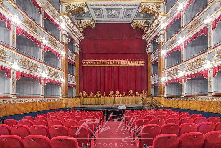 Europe, Italy, Sicily, Noto, Teatro Comunale Emanuele built in the 19th century