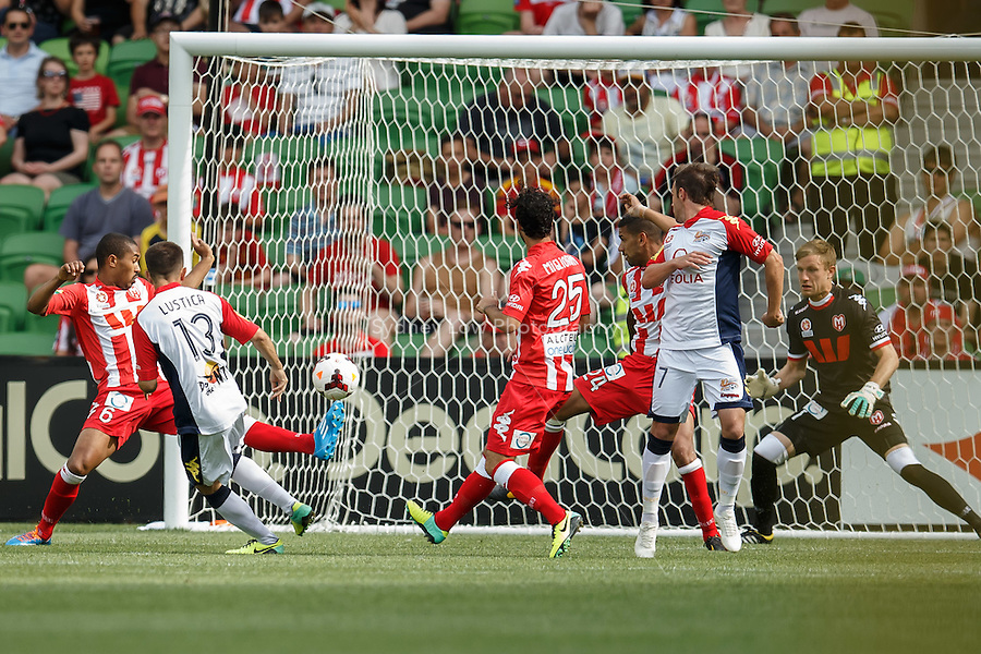 Steven LUSTICA of Adelaide scores a goal in the round eight match between Melbourne Heart and Adelaide United in the Australian Hyundai A-League 2013-24 season at AAMI Park, Melbourne, Australia. Photo Sydney Low/Zumapress<br /> <br /> This image is not for sale on this web site. Please visit zumapress.com for licensing
