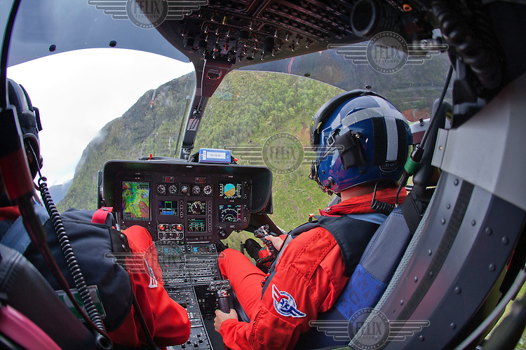 Crew from Norwegian Air Ambulance fly a training mission in the Bergen area. <br />