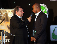 Pictured L-R: Kevin Johns speaks to Andre Ayew Wednesday 11 May 2016<br /> Re: Awards Dinner 2016, at the Liberty Stadium, south Wales, UK.