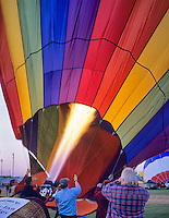 Flame filling hot air balloon. Art and Air Festival. Albany Oregon