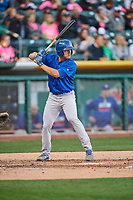 John Andreoli (7) of the Iowa Cubs bats against the Salt Lake Bees in Pacific Coast League action at Smith's Ballpark on May 13, 2017 in Salt Lake City, Utah. Salt Lake defeated Iowa  5-4. (Stephen Smith/Four Seam Images)
