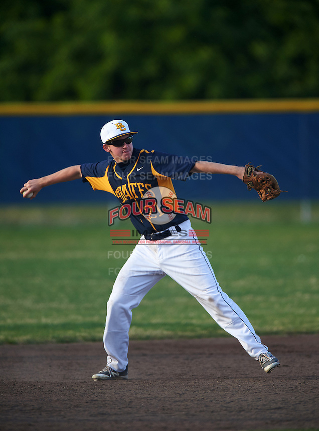Boca Ciega Pirates third baseman Max Dlugozima (21) during a game against the Lakeland Spartans at Boca Ciega High School on March 2, 2016 in St. Petersburg, Florida.  Boca Ciega defeated Lakewood 2-1.  (Mike Janes/Four Seam Images)