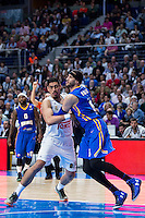 Real Madrid's Gustavo Ayón and Khimki Moscow's Josh Boone during Euroleague match at Barclaycard Center in Madrid. April 07, 2016. (ALTERPHOTOS/Borja B.Hojas) /NortePhoto