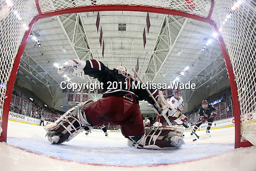 Mary Restuccia (BC - 22) regains BC's lead with her goal at 6:52 of the third period. - The Boston College Eagles defeated the Harvard University Crimson 3-1 to win the 2011 Beanpot championship on Tuesday, February 15, 2011, at Conte Forum in Chestnut Hill, Massachusetts.