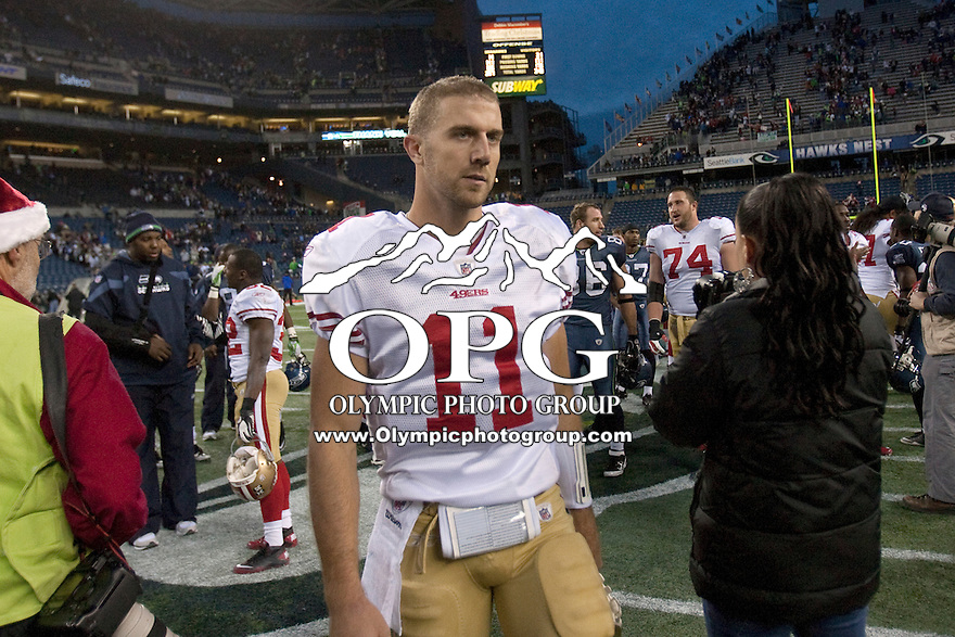 Dec 24, 2011: San Francisco's #11 Alex Smith against Seattle at Century Link Stadium in Seattle WA.  San Francisco defeated Seattle 19-17.