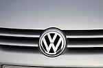 Volkswagen VW logo sign on car radiator