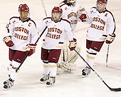 Blake Bolden (BC - 10), Kate Leary (BC - 28), Meagan Mangene (BC - 24) - The Boston College Eagles tied the visiting Boston University Terriers 5-5 on Saturday, November 3, 2012, at Kelley Rink in Conte Forum in Chestnut Hill, Massachusetts.