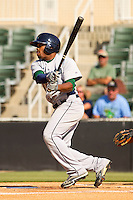 Delino DeShields Jr. #4 of the Lexington Legends follows through on his swing against the Kannapolis Intimidators at CMC-Northeast Stadium on May 20, 2012 in Kannapolis, North Carolina.  The Legends defeated the Intimidators 7-1.  (Brian Westerholt/Four Seam Images)