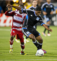 SANTA CLARA, CA - July 18, 2012: San Jose Earthquake Khari Stephenson (7) during the San Jose Earthquakes vs  FC Dallas match at the Buck Shaw Stadium in Santa Clara, California. Final score San Jose Earthquakes 2, FC Dallas 1.