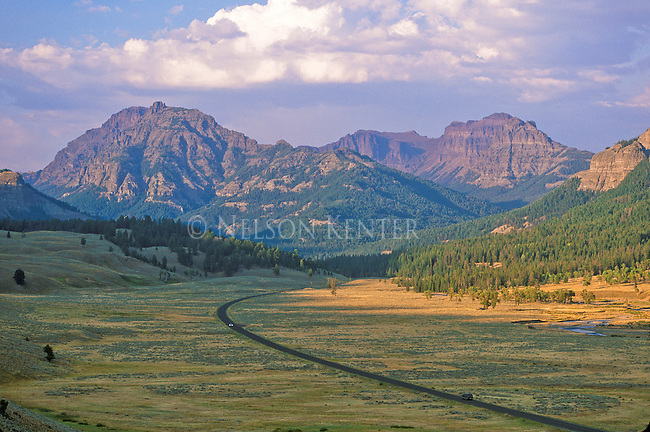 Highway through the Lamar Valley in northern Yellowstone National Park on the way to Cooke City, Montana