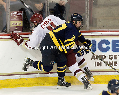 Tommy Cross (BC - 4), Rhett Bly (Merrimack - 27) - The Merrimack College Warriors visited the Boston College Eagles on Friday, October 29, 2010, at Conte Forum in Chestnut Hill, MA.