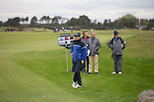 6th October 2017, Carnoustie Golf Links, Carnoustie, Scotland; Alfred Dunhill Links Championship, second round; England's Tyrrell Hatton, winner in 2016, on the 18th fairway on the Championship Links, Carnoustie during the second round at the Alfred Dunhill Links Championship