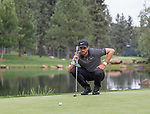 Patrick Rodgers lines up a putt on the 7th hole during the Barracuda Championship PGA golf tournament at Montrêux Golf and Country Club in Reno, Nevada on Friday, July 26, 2019.
