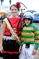 31-8-2014: Winnng jockey Danny Sheehy from Graiguenamanagh, County Kilkenny with Festival Queen Mary Claire Teahan pictured at the Glenbeigh Races on Rossbeigh Strand in County Kerry on Sunday.<br /> Picture by Don MacMonagle