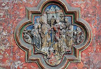 St Firmin curing those with fevers and other sicknesses, low relief plaque on the South side of the Gothic choir screen, 1490-1530, commissioned by canon Adrien de Henencourt, depicting the life of St Firmin, in the South ambulatory of the Basilique Cathedrale Notre-Dame d'Amiens or Cathedral Basilica of Our Lady of Amiens, built 1220-70 in Gothic style, Amiens, Picardy, France. St Firmin, 272-303 AD, was the first bishop of Amiens. Amiens Cathedral was listed as a UNESCO World Heritage Site in 1981. Picture by Manuel Cohen