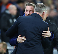 26th November 2019; Cardiff City Stadium, Cardiff, Glamorgan, Wales; English Championship Football, Cardiff City versus Stoke City; Neil Harris, Manager of Cardiff City and Michael O'Neill, Manager of Stoke City greet before kick off - Strictly Editorial Use Only. No use with unauthorized audio, video, data, fixture lists, club/league logos or 'live' services. Online in-match use limited to 120 images, no video emulation. No use in betting, games or single club/league/player publications
