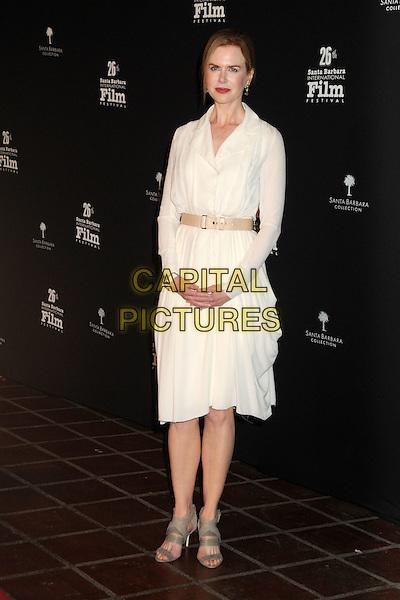 NICOLE KIDMAN.2011 Santa Barbara International Film Festival - Cinema Vanguard Award Presented to Nicole Kidman held at the Arlington Theater,  Santa Barbara, California, USA, .5th February 2011..full length dress belt waist open toe grey gray sandals  white cream shirt .CAP/ADM/BP.©Byron Purvis/AdMedia/Capital Pictures.