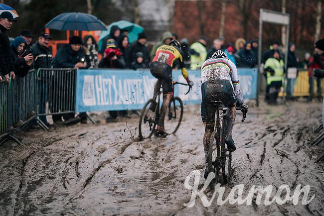 CX World Champion Mathieu Van Der Poel (NED/Correndon-Circus) chasing Belgian National CX Champion Toon Aerts (BEL/Telenet Fidea Lions) in the mud<br /> <br /> Superprestige cyclocross Hoogstraten 2019 (BEL)<br /> Elite Men's Race<br /> <br /> ©kramon