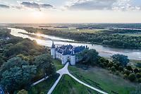 France, Domaine de Chaumont-sur-Loire, le parc le château et la Loire le soir (vue aérienne)