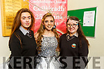 Lifeline Creation creation at the Gaelcolaiste Chairrai showing their creations for the Junk Koture at the school on Tuesday.L to r: Sarah Ní Hargáin (creator), Marnie Ní Óráin and Sinéad Ní Mhurchú.