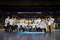 ST. LOUIS, MO - MARCH 18: The Penn State Nittany Lion wrestling team poses for a photo on the center of the mat after winning the team title during the championship finals of the NCAA Wrestling Championships on March 18, 2017 at the Scottrade Center in St. Louis, Missouri. (Photo by Hunter Martin/NCAA Photos via Getty Images) *** Local Caption ***