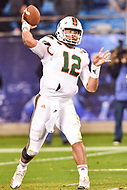 Charlotte, NC - DEC 2, 2017: Miami Hurricanes quarterback Malik Rosier (12) throws the football during ACC Championship game between Miami and Clemson at Bank of America Stadium Charlotte, North Carolina. (Photo by Phil Peters/Media Images International)