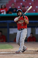 Gerson Montilla #2 of the Visalia Rawhide bats against the High Desert Mavericks at Stater Bros. Stadium on July 20, 2013 in Adelanto, California. High Desert defeated Visalia, 7-4. (Larry Goren/Four Seam Images)