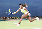 June 10th 2017,  Nottingham, England; WTA Aegon Nottingham Open Tennis Tournament day 1; Sachia Vickery of USA stretches for a forehand