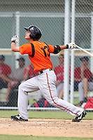 Baltimore Orioles first baseman Conner Narron #13 during an Instructional League game against the Boston Red Sox at Buck O'Neil Complex on October 6, 2011 in Sarasota, Florida.  (Mike Janes/Four Seam Images)