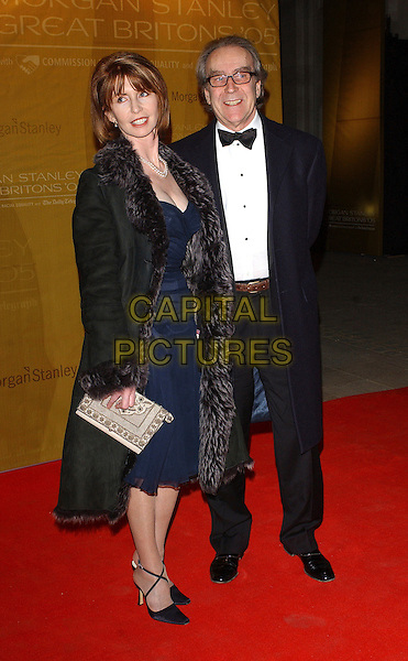 JANE ASHER & GERALD SCARFE.The Morgan Stanley Great Britons '05 Awards, The Guildhall, London, UK. .January 26th, 2006.Ref: BEL.full length black coat fur lining .www.capitalpictures.com.sales@capitalpictures.com.© Capital Pictures.