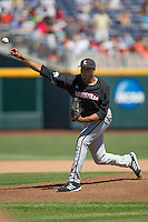 Louisville starting pitcher Jeff Thompson (44) delivers a pitch to the plate against the Oregon State Beavers during Game 5 of the 2013 Men's College World Series on June 17, 2013 at TD Ameritrade Park in Omaha, Nebraska. The Beavers defeated Cardinals 11-4, eliminating Louisville from the tournament. (Andrew Woolley/Four Seam Images)