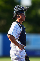 Staten Island Yankees catcher Radley Haddad #56 during a game against the Connecticut Tigers on July 7, 2013 at Richmond County Bank Ballpark in Staten Island, New York.  Staten Island defeated Connecticut 6-2.  (Mike Janes/Four Seam Images)