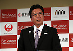 October 17, 2016, Tokyo, Japan -  Japan's largest travel agency JTB president Hiroyuki Takahashi speaks at a press conference as JTB, Nippon Express, Mitsukoshi-Isetan Holdings and Japan Airlines form a new company Fun Japan Communications in Tokyo on Monday, October 17, 2016. Fun Japan Communications is the digital marketing company for tourists mainly target of Taiwan and ASEAN countries.   (Photo by Yoshio Tsunoda/AFLO) LWX -ytd-
