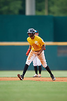 Rob Gordon (5) of Ben Franklin Academy in Smyrna, GA during the Perfect Game National Showcase at Hoover Metropolitan Stadium on June 17, 2020 in Hoover, Alabama. (Mike Janes/Four Seam Images)