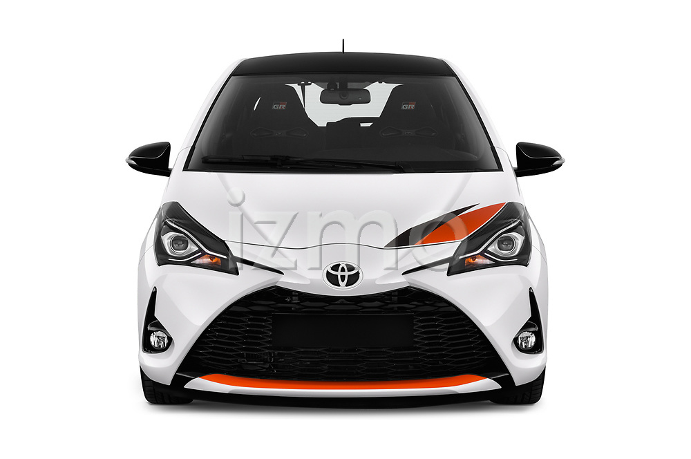 Car photography straight front view of a 2018 Toyota Yaris GRMN 3 Door Hatchback