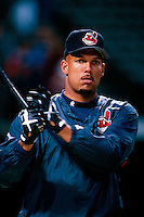 David Justice of the Cleveland Indians plays in a baseball game at Edison International Field during the 1998 season in Anaheim, California. (Larry Goren/Four Seam Images)