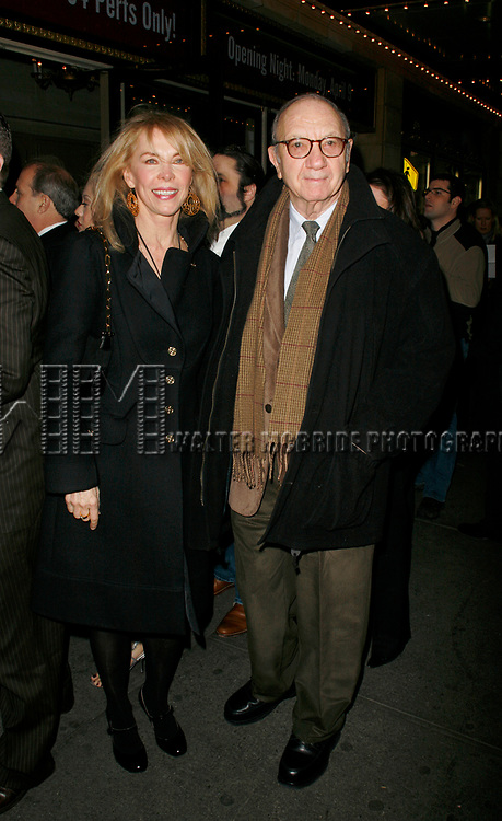 Neil Simon with wife Elaine Joyce arriving for the Opening Night Performance of Eugene O'Neill's A MOON FOR THE MISBEGOTTEN at the Brooks Atkinson Theatre in New York City.<br />
