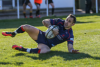 Craig Holland of London Scottish scores a try during the Greene King IPA Championship match between London Scottish Football Club and Bedford Blues at Richmond Athletic Ground, Richmond, United Kingdom on 25 March 2017. Photo by David Horn / PRiME Media Images.