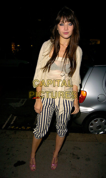 DAISY LOWE .The PPQ Mayfair flagship store opening party, Conduit Street, London, UK..September 18th 2006. .Ref: CAN.full length fringe white top bow cropped blue and white striped trousers shorts pink strappy sandals shoes.www.capitalpictures.com.sales@capitalpictures.com.©Can Nguyen/Capital Pictures