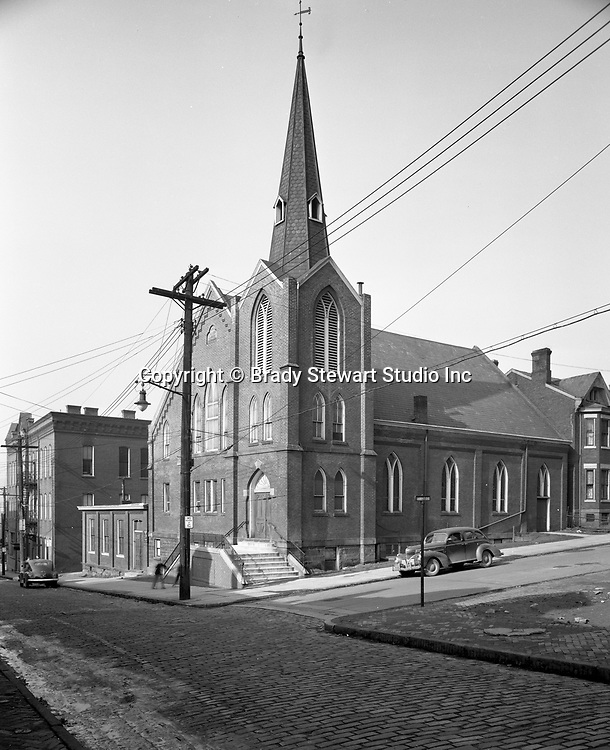 Pittsburgh PA:  View of the 43rd Street Presbyterian Church in Lawrenceville 1949.  Could not find any information on what happened to the church - I believe the congregation merged with another church and the building was demolished.