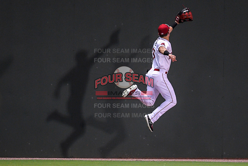 Shadows follow left fielder Jordan Wren (3) of the Greenville Drive as he goes up high on the Green Monster wall to reach a fly ball in a game against the Augusta GreenJackets on Thursday, August 29, 2019, at Fluor Field at the West End in Greenville, South Carolina.
